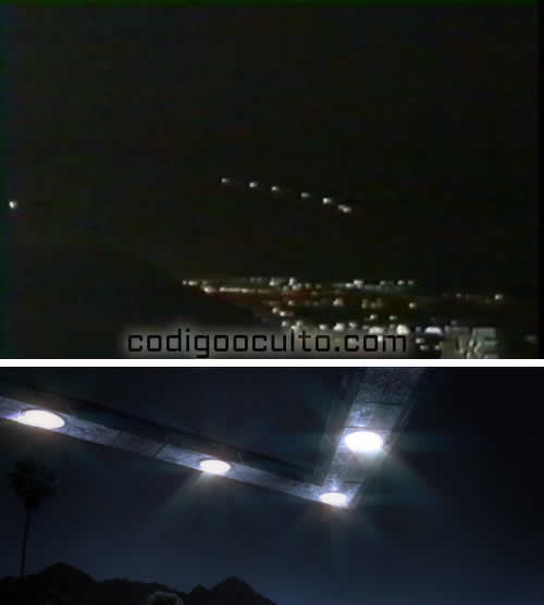 En la parte superior las luces de Phoenix vistas por cientos de testigos. En la parte inferior una representación del posible artefacto volador.