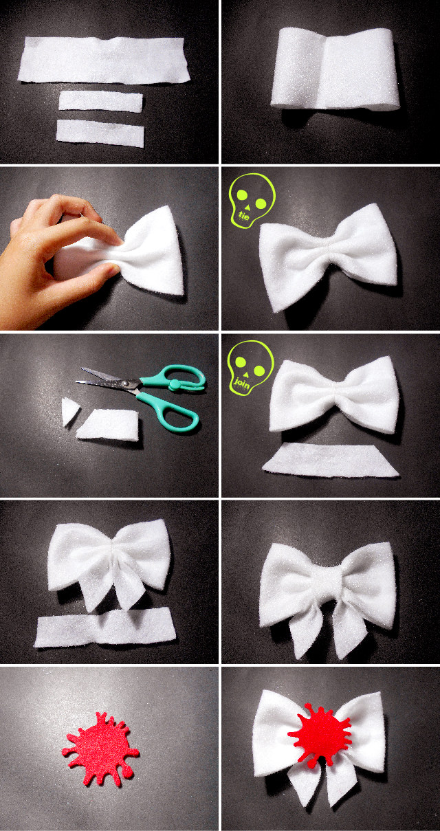 DIY Scary Halloween Accessories - Bloody Bow Tutorial