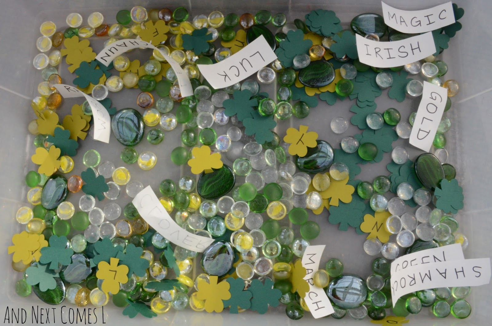 A literacy rich St. Patrick's Day sensory bin for kids from And Next Comes L