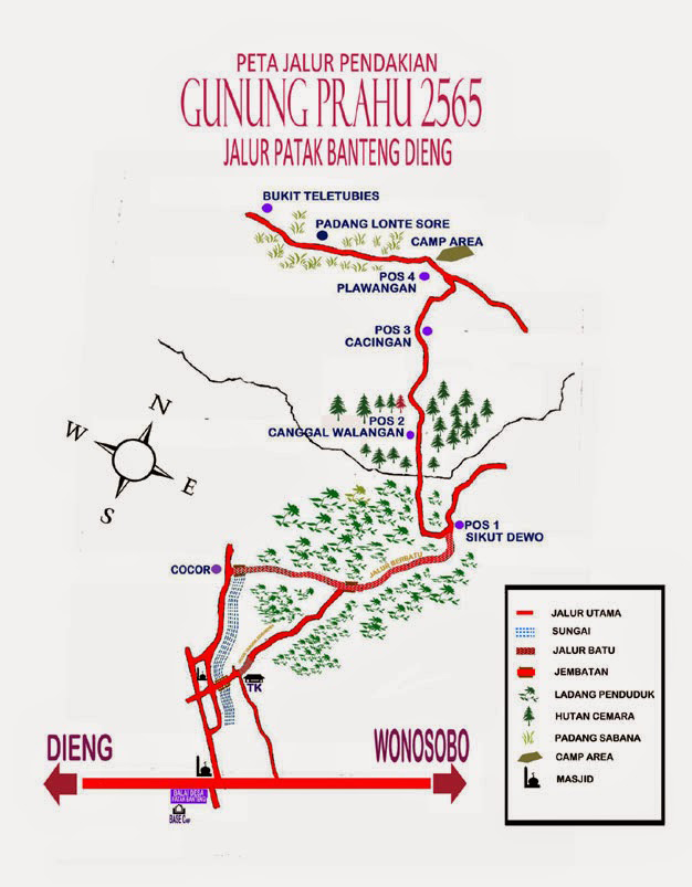 Topografi dan Jalur Pendakian Gunung Prau Dieng via Wonosobo jumlah pos