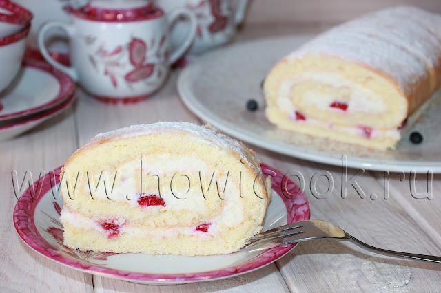 рецепт бисквитного рулета с клубникой с пошаговыми фото