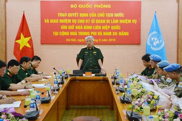 Việt Nam cử thêm 7 sĩ quan làm nhiệm vụ gìn giữ hòa bình Liên hợp quốc