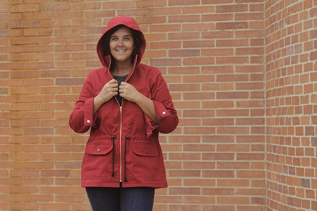 Indiesew/Allie Olsen Lonetree Jacket in red twill with a gold zipper.