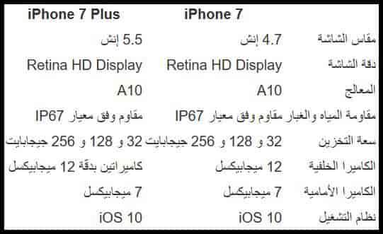 مواصفات هاتفي آيفون 7