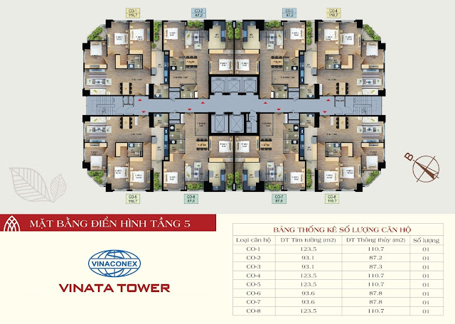 mặt bằng vinata tower tầng 5