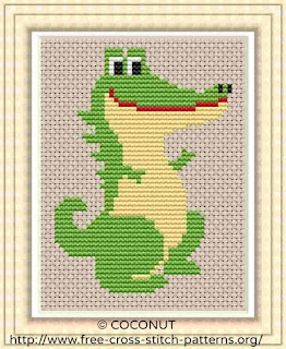 Dinosaur 3, Free and easy printable cross stitch pattern