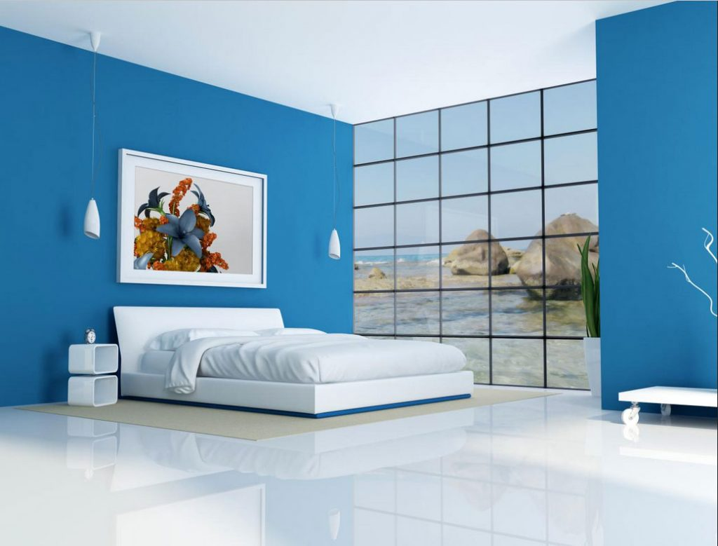 Minimalistische Schlafzimmer Blau Design Mit Weiße Einrichtung