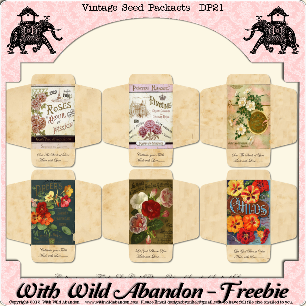With Wild Abandon Seed Packets Freebie Printable