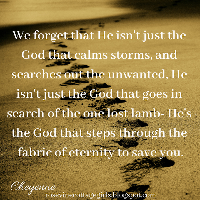 We forget that He isn't just the God that calms storms, and searches out the unwanted, He isn't just the God that goes in search of the one lost lamb- He's the God that steps through the fabric of eternity to save you.