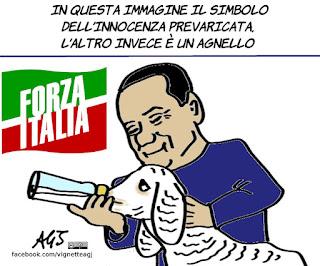 Silvio Berlusconi, agnellini, vegetariani, vegan, propaganda politica, vignetta, satira