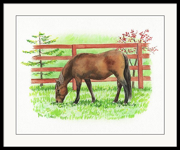 watercolour of a horse grazing at the pasture