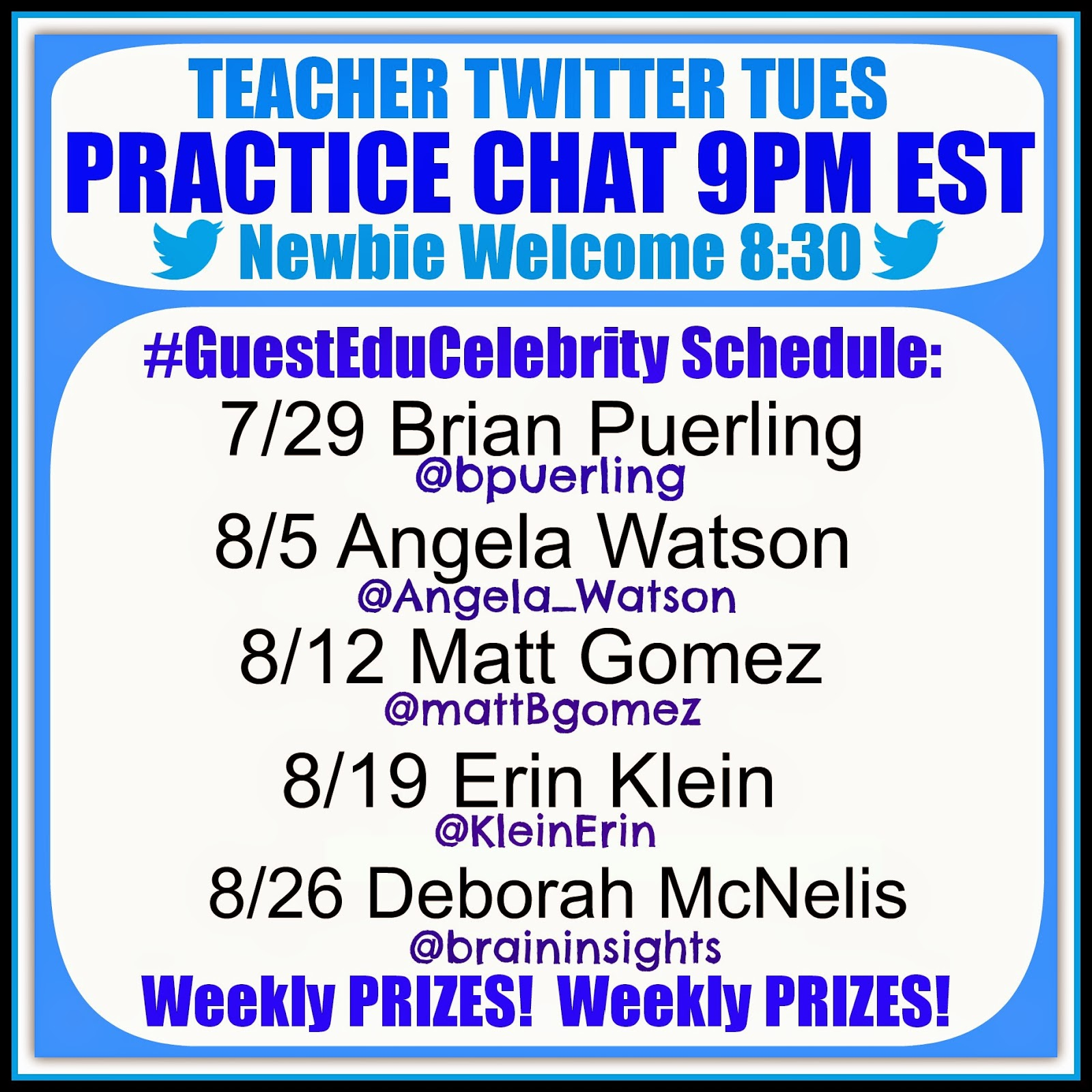 Twitter Chat Schedule for #TeacherFriends Moderated by Debbie Clement