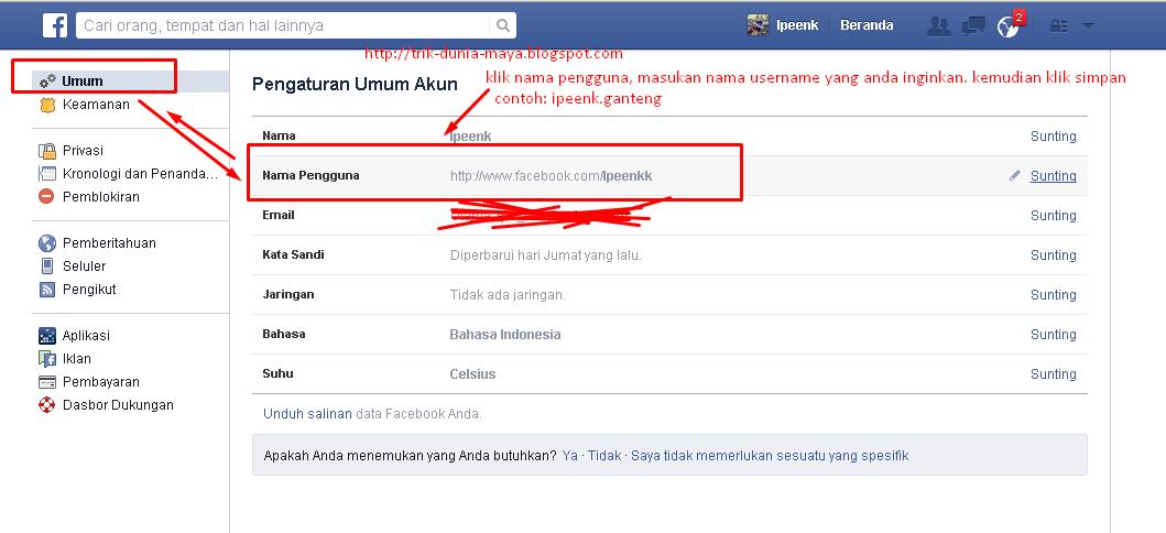 Cara Mengganti Username Facebook