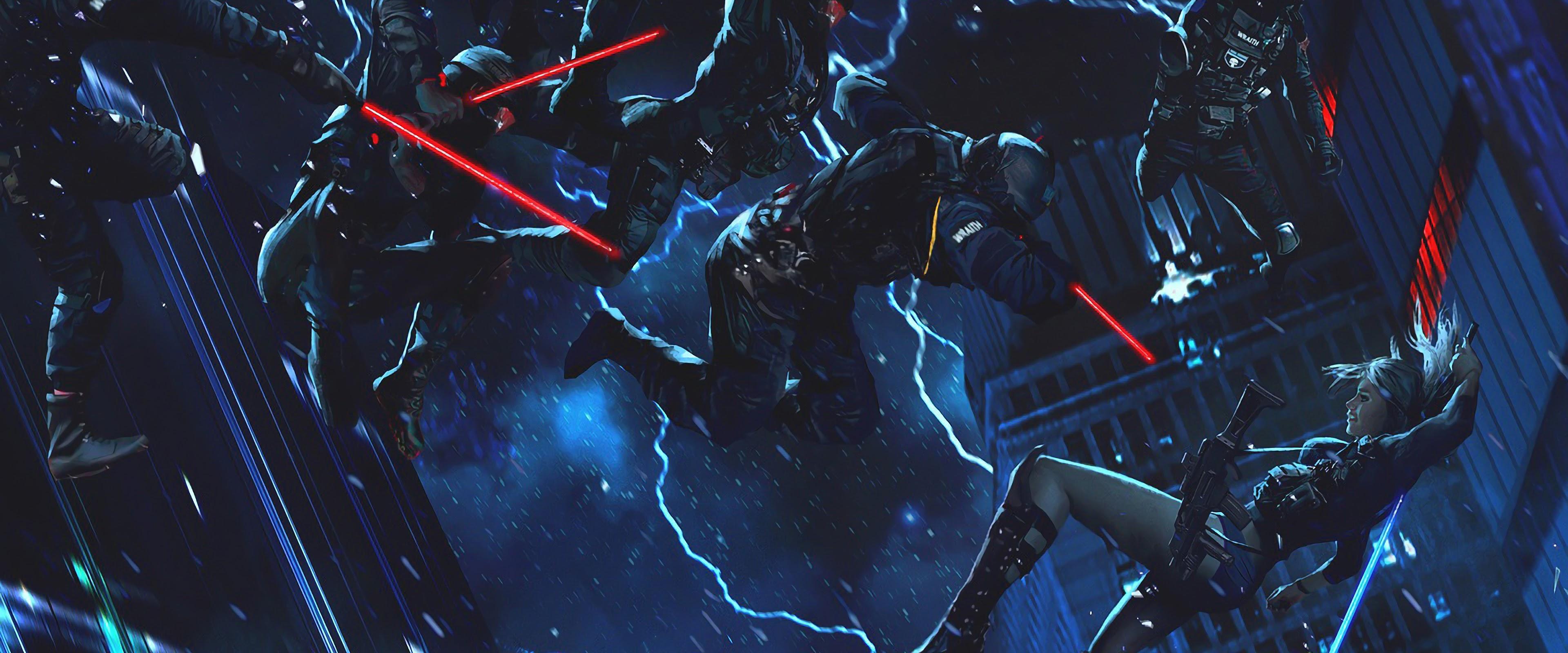 Sci Fi Soldiers Lightsaber Cyberpunk 4k Wallpaper 67