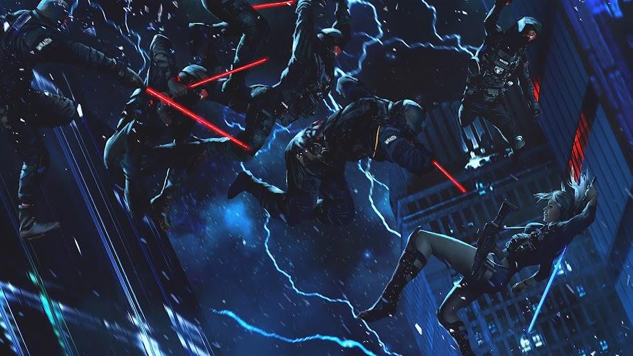 Sci-Fi, Soldiers, Lightsaber, Cyberpunk, 4K, #67