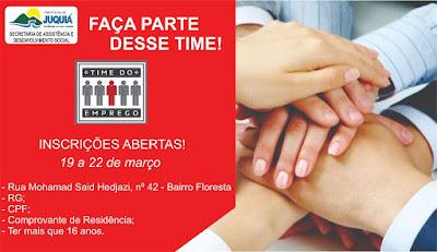 Secretaria de Assistência e Desenvolvimento Social de Juquiá abre inscrições para o Programa Time do Emprego