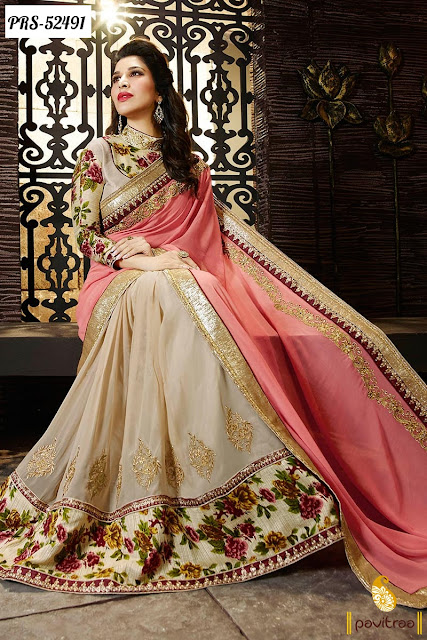Bollywood actress celebrity sophia chaudhary pink color georgette New Year 2016 party wear bollywood saree online shopping with discount sale