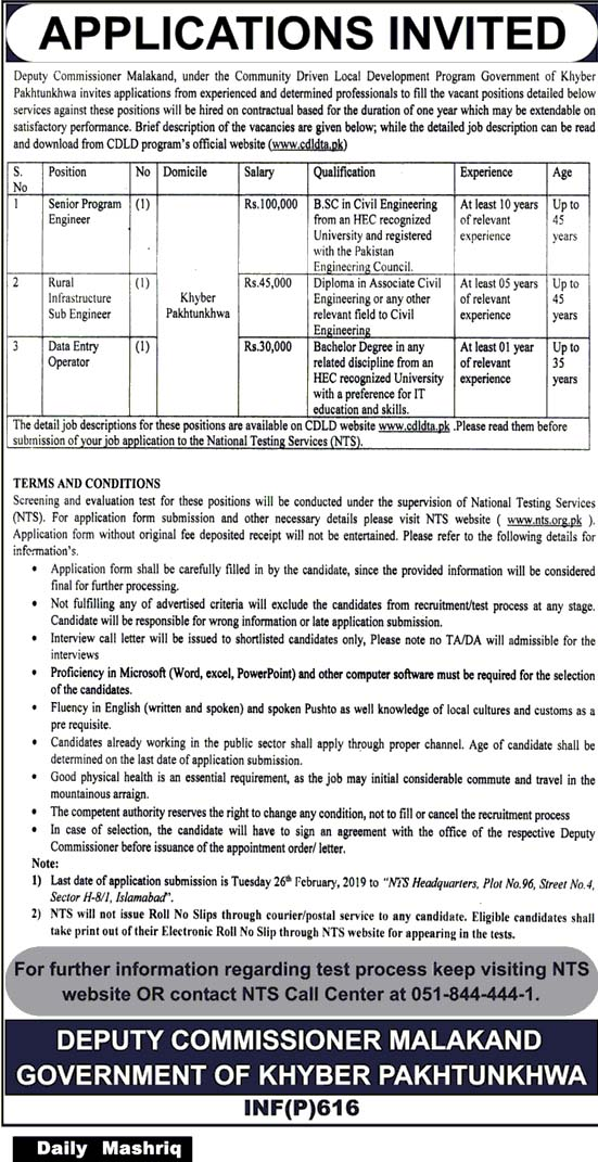 Latest Jobs in Deputy Commissioner Malakand 13 Feb 2019