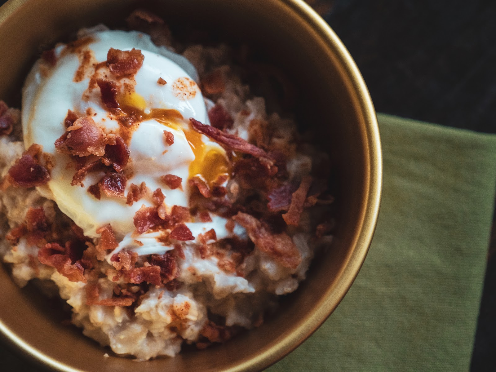 Savory Oatmeal with Poached Egg and Bacon | Local Food Rocks