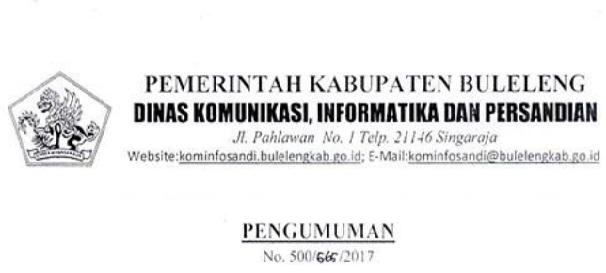Lowongan kerja Dinas Komunikasi Informatika persandian Buleleng
