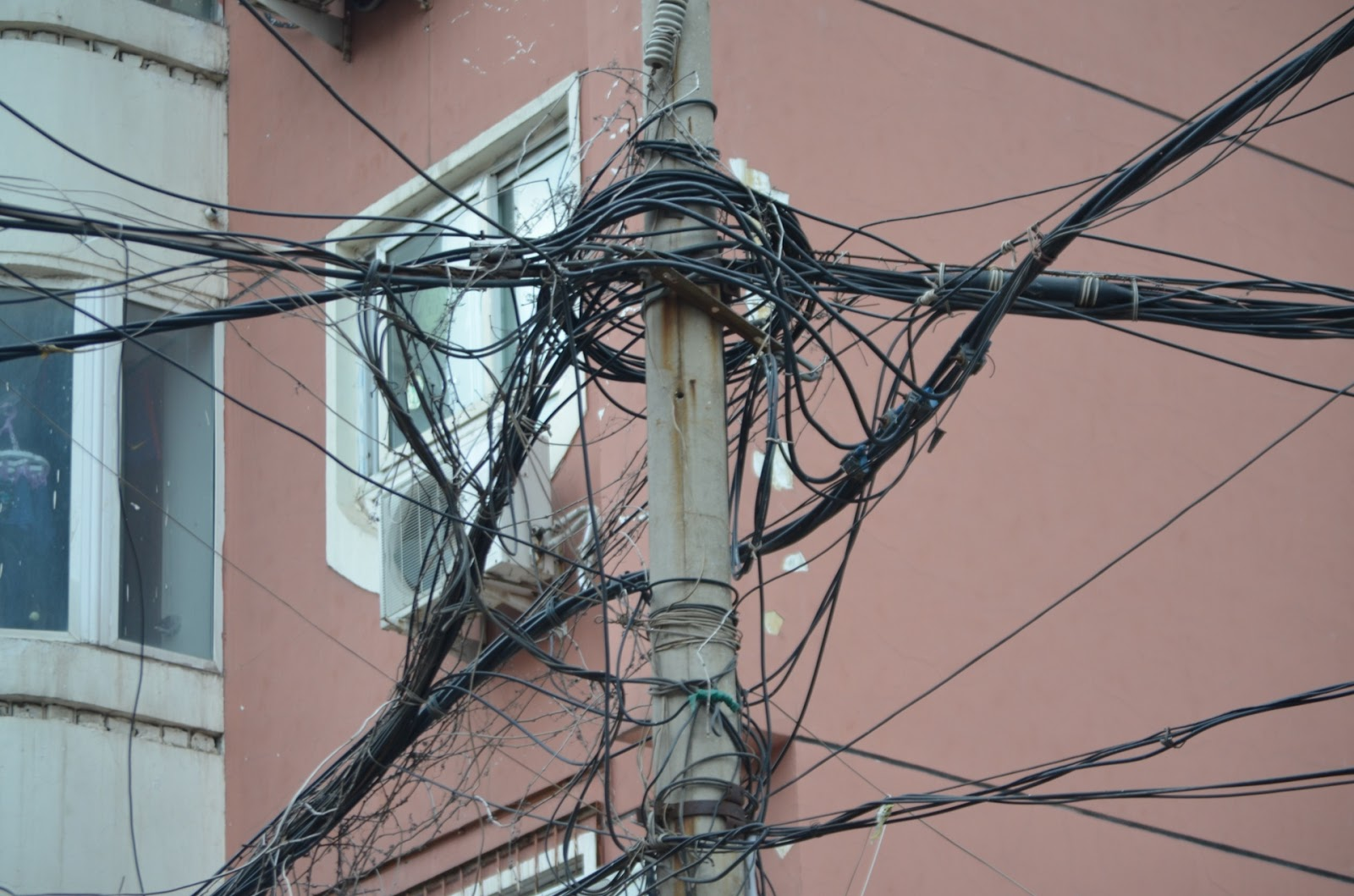 hight resolution of wires competing for space on free market pole
