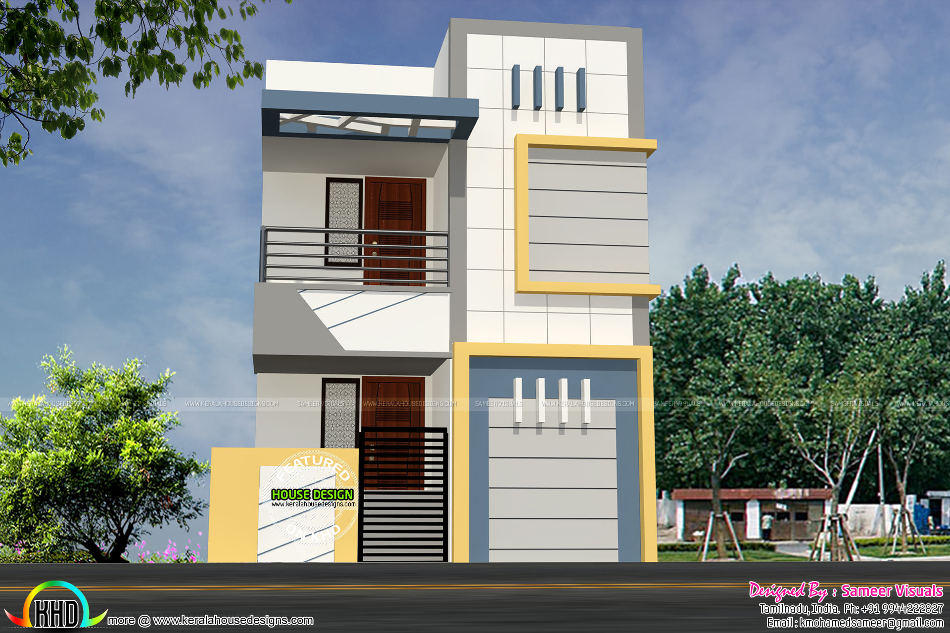 16 feet width house plan architecture kerala home design for Architecture design small house india
