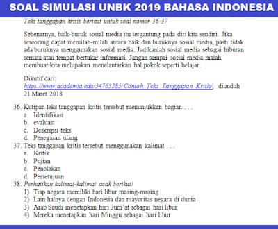 gambar SOAL simulasi unbk 2019 bahasa indonesia