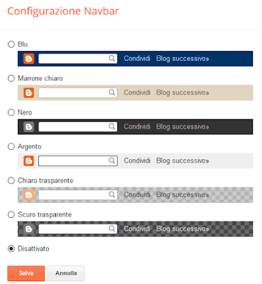Eliminare la navbar da blogger / blogspot