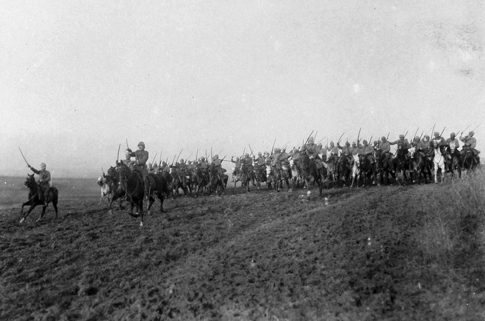 Turkish cavalry exercises on the Saloniki front, Turkey, March of 1917.