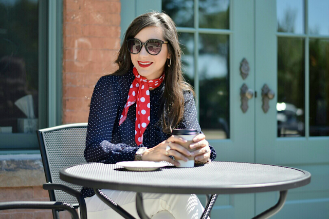 Polka Dot Navy Blouse and Red Polka Dot Neck Scarf for Work