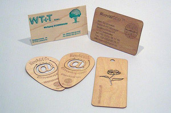 Изготовление и продажа деревянных визитных карточек