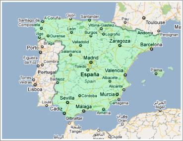 mapa de portugal e sul de espanha Espanha: Localização no Mapa Múndi mapa de portugal e sul de espanha