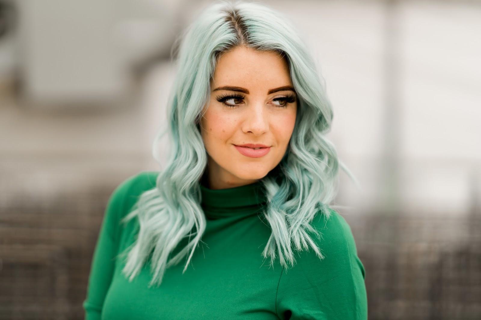 Overtone Hair, Pastel Blue Hair, Pink Lips