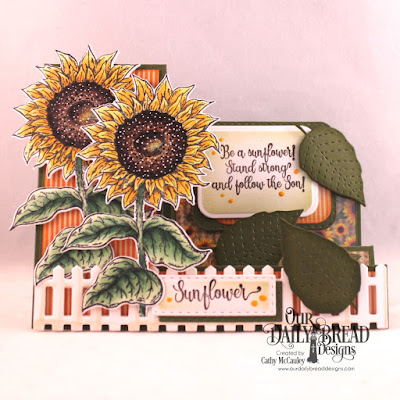Our Daily Bread Designs Stamp Set: Be a Sunflower, Paper Collections: Follow the Son, Fall Favorites, Custom Dies: Side-Step Card, Sunflower, Stitched Leaves, Rounded Rectangles, Double Stitched Rounded Rectangles, Double Stitched Rectangles, Fence