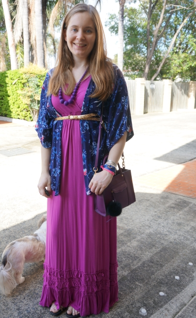 pink maxi dress with belted navy bird floral print kimono and purple accessories | awayfromblue