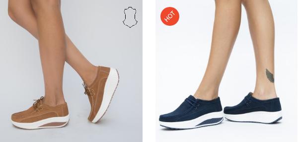 Pantofi casual bleumarin, camel din piele naturala cu talpa ortopedica moderni