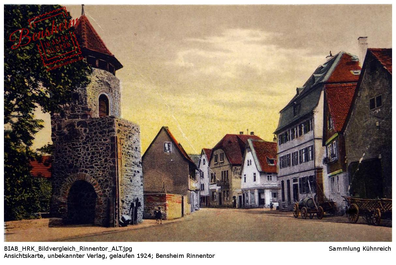 Am Rinnentor, Bensheim, Ansichtskarte, gelaufen 1924, unbekannter Verlag, Sammlung Kühnreich