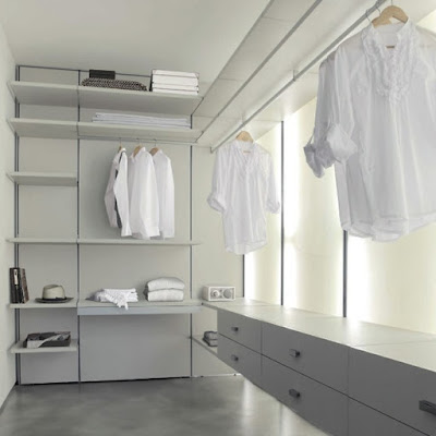white modern dressing room design for men