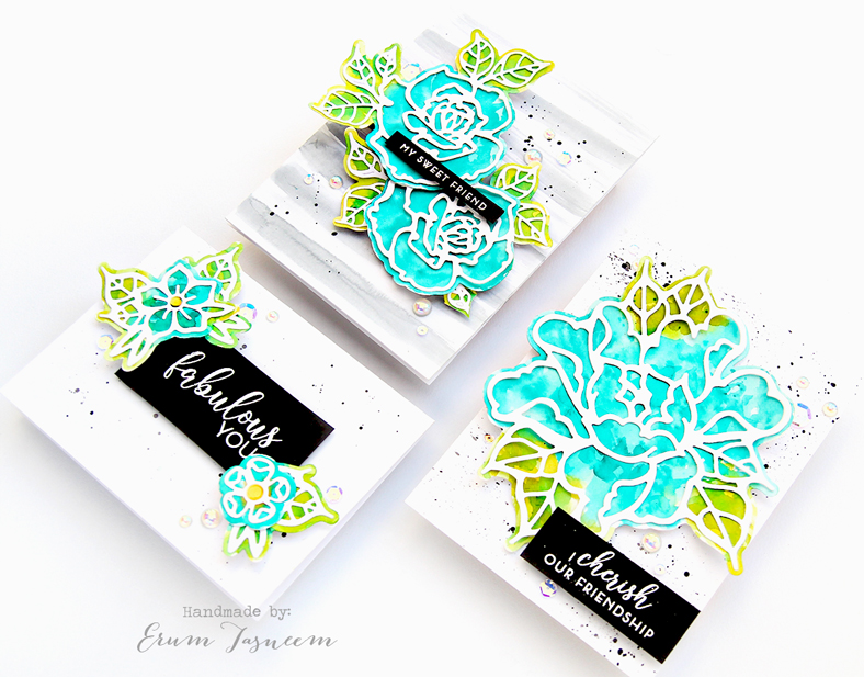 Spellbinders Good Vibes Only by Stephanie Low | Flowers Whisper Etched Dies | Rosy Summer Flowers Etched Dies | Petal'd Poetry Etched Dies | Watercolor Cards by Erum Tasneem | @pr0digy0