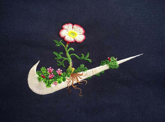 Flowers and Nature Inspired Embroideries on Sportswear Famous Logos