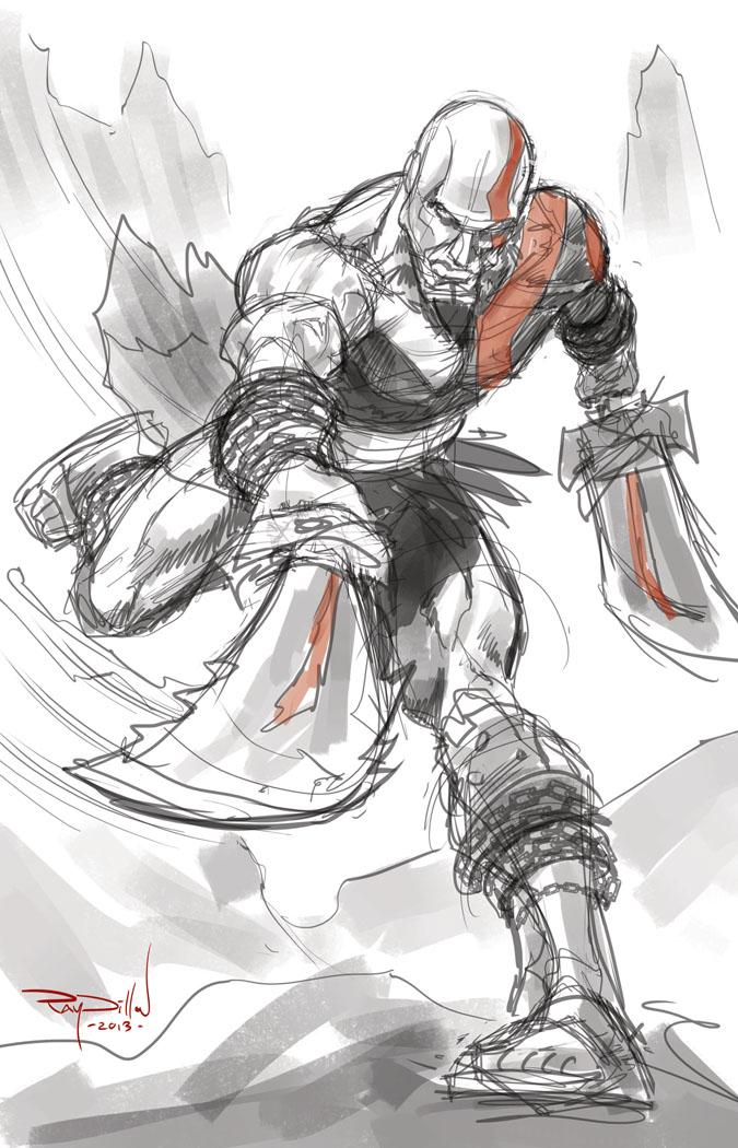Ray Dillon Sketches Kratos God Of War Comic Book