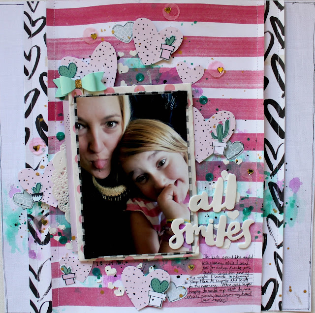""" All Smiles"" layout by Bernii Miller for Sugar Maple Paper Co."