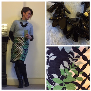 Boden Trellis print skirt and fluffy jumper