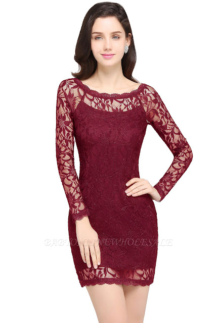 Sexy Burgundy Lace Long Sleeves Mermaid Prom Dresses