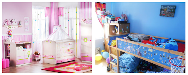 Quarto de menino com objetos na cor azul e quarto de menina com objetos rosa