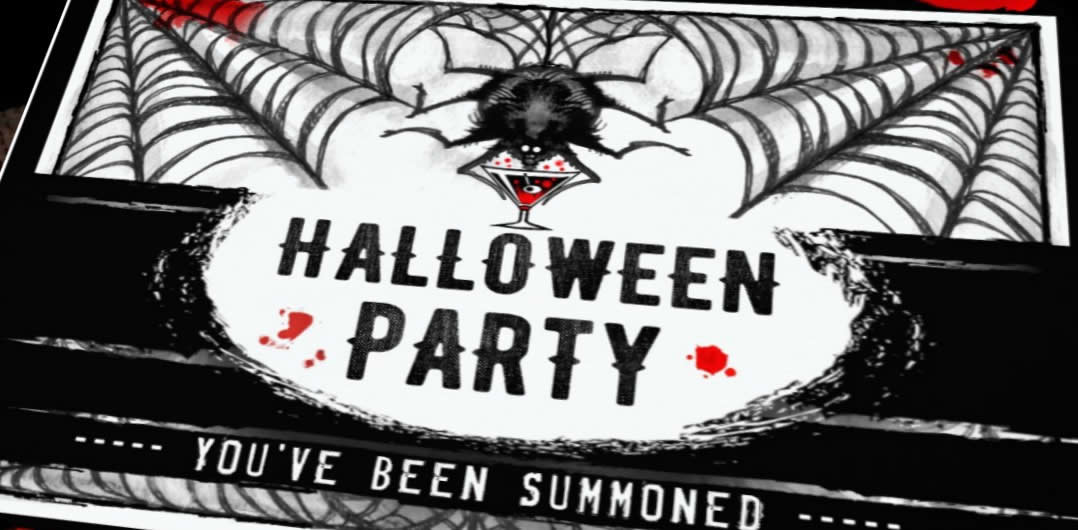 black & white Halloween spooky spider party template invitation