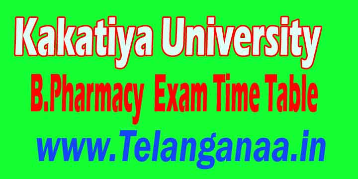 Kakatiya University B.Pharmacy Supply Exam Time Table