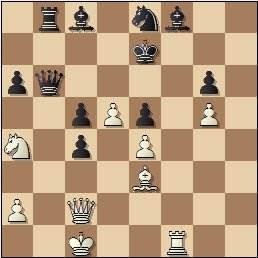 Partida de ajedrez Club Ajedrez Barcelona vs. Peña Rey Ardid de Bilbao, Torneo Postal Interclubs - 1958, posición después de 29.Ca4!