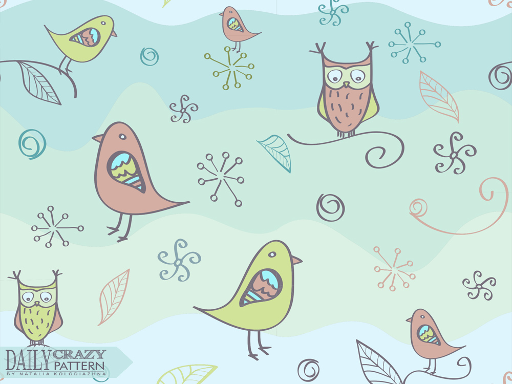 Cute owls and birds