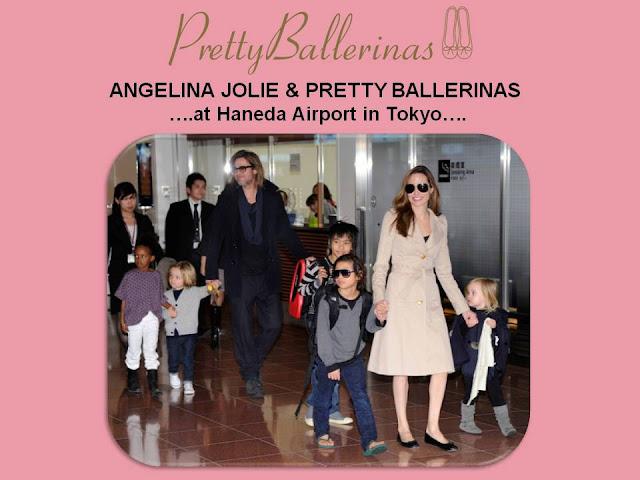 ANGELINA JOLIE LUCIENDO PRETTY BALLERINAS EN EL AEROPUERTO DE TOKYO, CON BRAD PITT Y SU FAMILIA